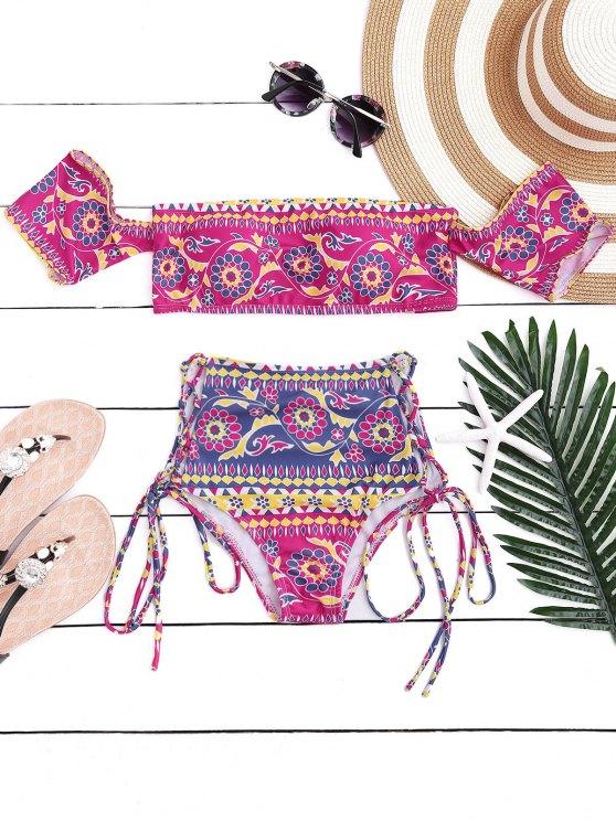 trendy Off The Shoulder Lace Up Bikini Set - ROSE M