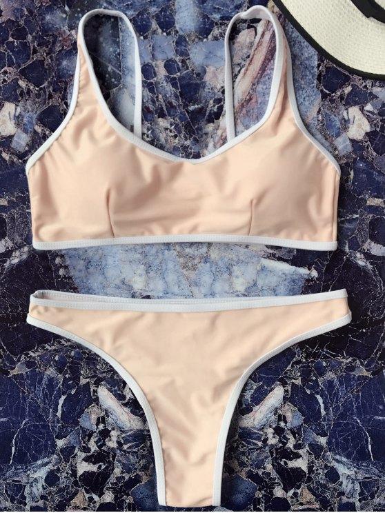 lady Contrast Piping Padded Bralette Bikini Set - YELLOWISH PINK L