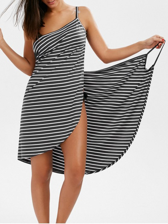 affordable Striped Open Back Cover-ups Dress - GRAY L