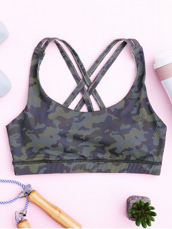 outfits Mesh Camo Print Sports Bra - BLUE CAMOUFLAGE L