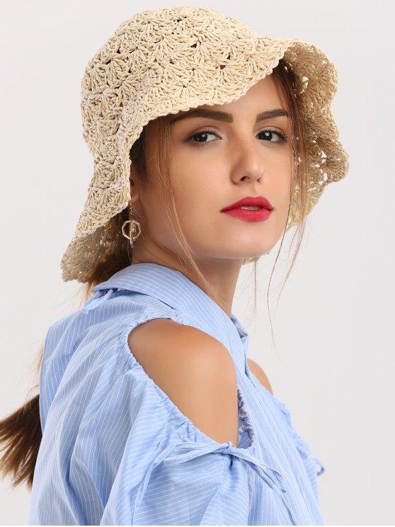 Chapeau de paille pliable à crochetage pliable - RAL1001Beige
