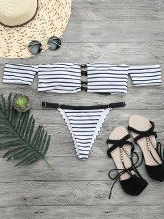 V String Off The Shoulder Bikini Set - White And Black S