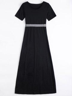 Mesh Panel Side Split Long Dress - Black M