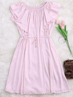 Satin Off Shoulder Drawstring Sleep Dress - Pink Xl