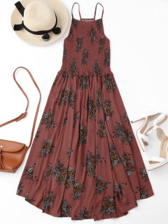 فضفاض ميدي A فستان زهري بخط  - الأزهار M