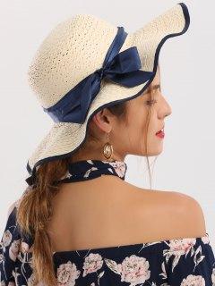 المنسوجة واسعة حافة الشريط بونوت قبعة القش - عاج