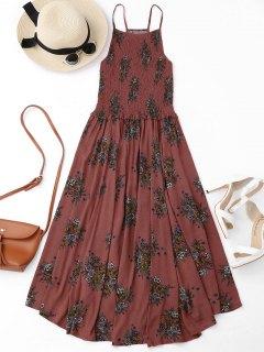 Floral A-Line Smocked Midi Dress - Floral S