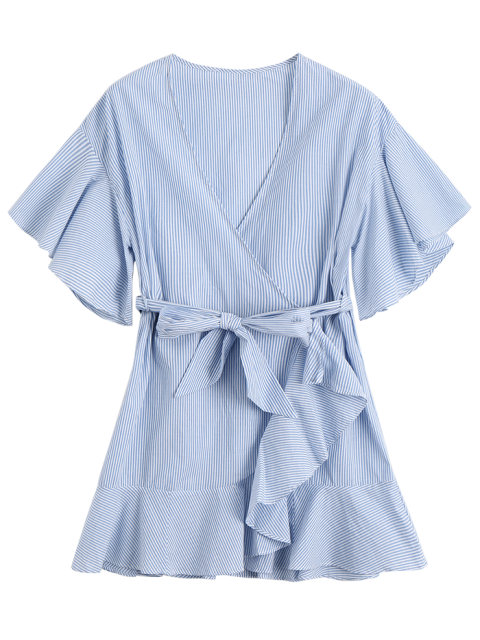 hot Low Cut Short Striped Wrap Dress - LIGHT BLUE M Mobile