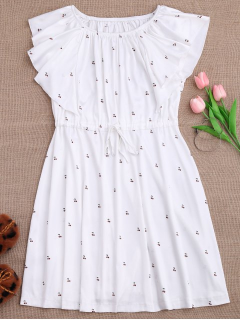 online Drawstring Off Shoulder Cherry Loungewear Dress - WHITE S Mobile