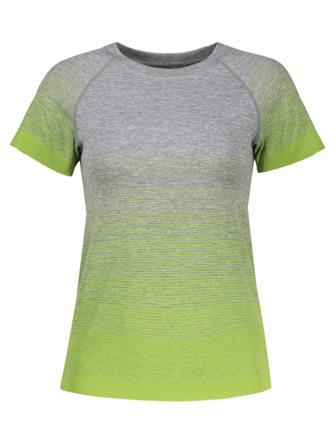 new Gradient Color Stretchy T-Shirt - GREEN L Mobile