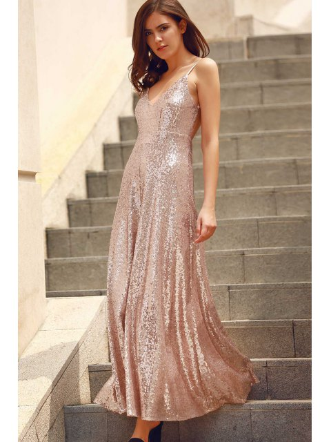 affordable Backless Sequins Spaghetti Strap Maxi Dress - PINK L Mobile