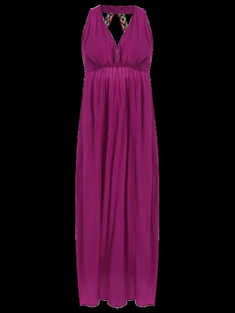 trendy Purple Plunging Neck Backless Maxi Dress - PURPLE L Mobile