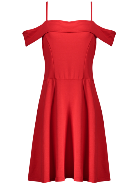 lady Foldover Cold Shoulder A Line Dress - RED S Mobile