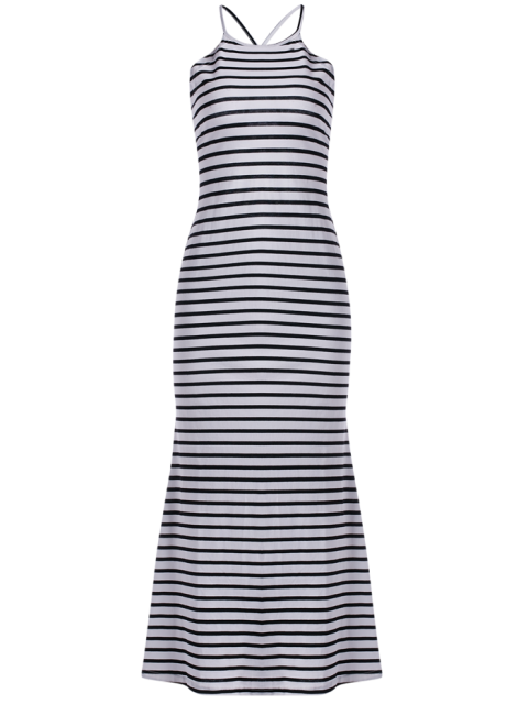fashion Halter Striped Maxi Dress - WHITE AND BLACK S Mobile