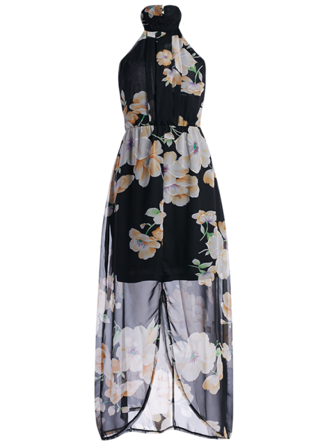 affordable Floral Chiffon Beach Maxi Dress - BLACK S Mobile