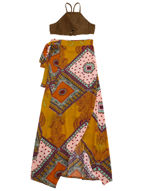new Cropped Faux Suede Top and Wrap Tribal Print Maxi Skirt - COLORMIX S Mobile