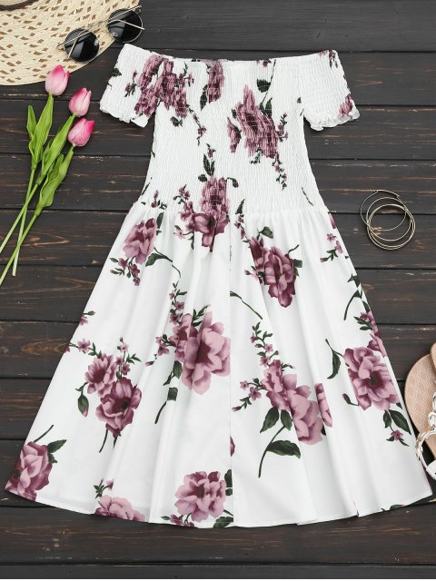 womens Floral Print Off The Shoulder Sun Dress - WHITE S Mobile