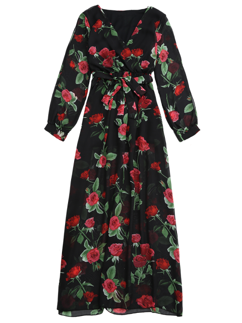 outfit Belted Floral Surplice Maxi Dress - FLORAL M Mobile