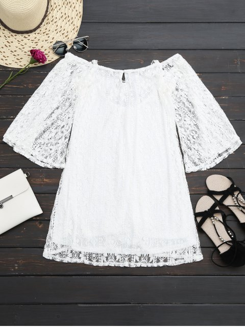 shop Criss Cross Mini Lace Dress - WHITE XL Mobile