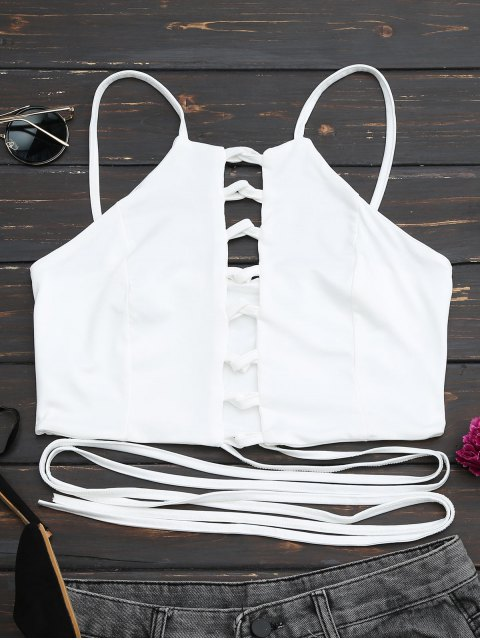 lady Criss Cross Lace Up Crop Top - WHITE S Mobile