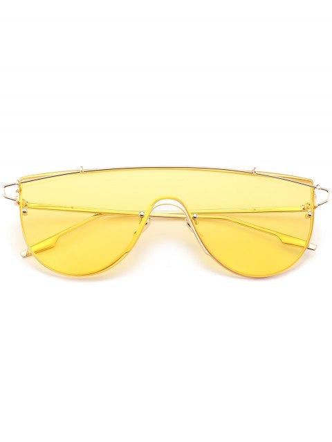 fancy Metallic Long Crossbar Shield Sunglasses - YELLOW  Mobile