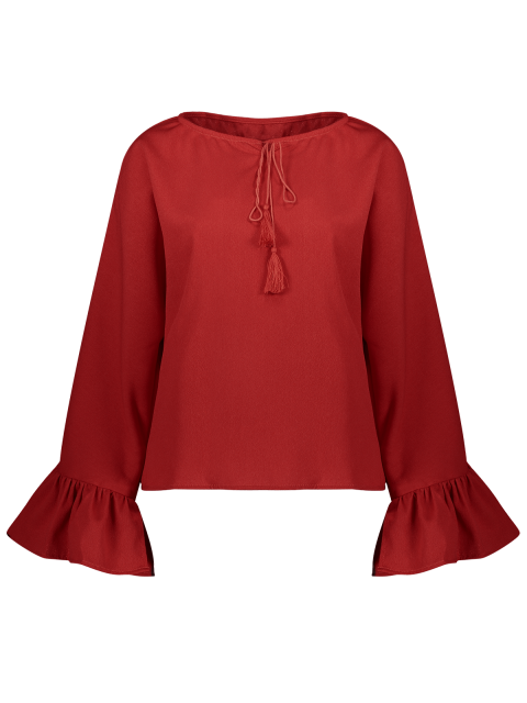 latest Ruffles Dolman Sleeve Loose Blouse - RED M Mobile