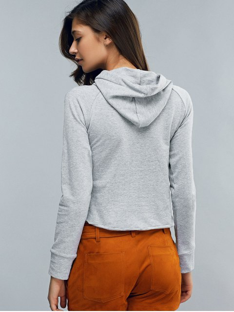 shop Cropped Hooded Long Sleeve Pullover Hoodie - LIGHT GRAY S Mobile
