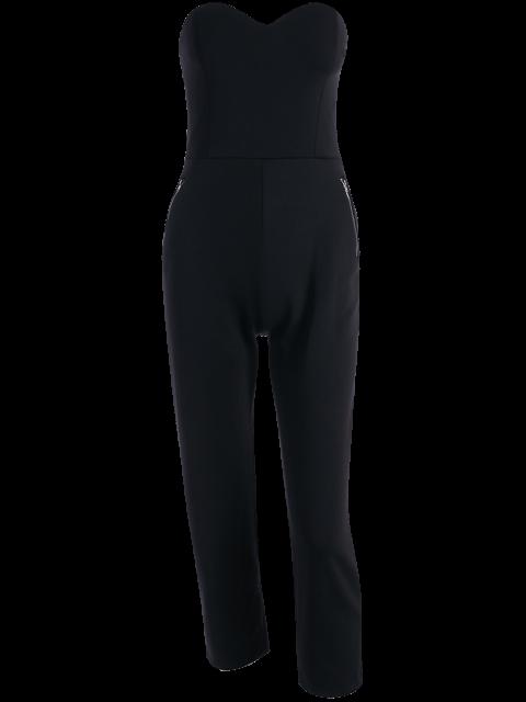 unique Zippered Fitted Bandeau Jumpsuit - BLACK XL Mobile