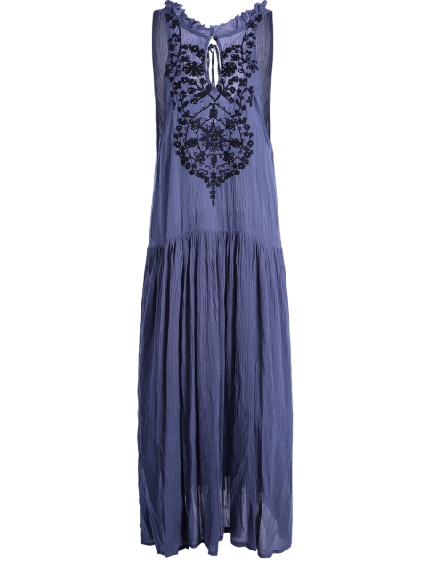 shops Embroidered Beaded Bohemian Dress - BLUE S Mobile