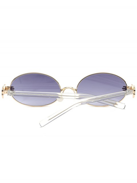 chic Metal Hand Faux Pearl Nose Pad Oval Sunglasses - GRAY  Mobile
