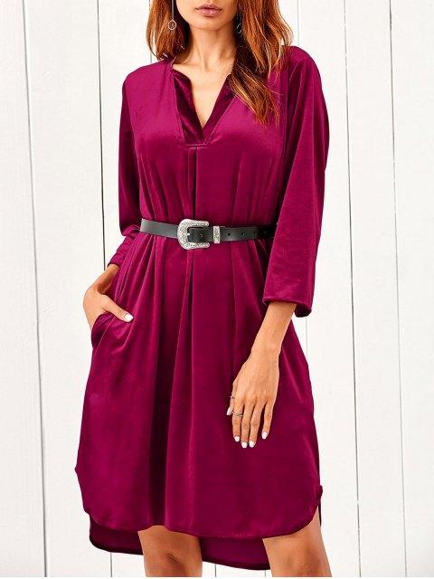 latest V Neck Pockets Midi Velvet Dress - RED L Mobile
