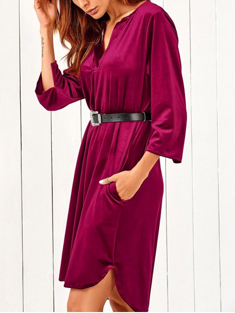 fashion V Neck Pockets Midi Velvet Dress - RED S Mobile