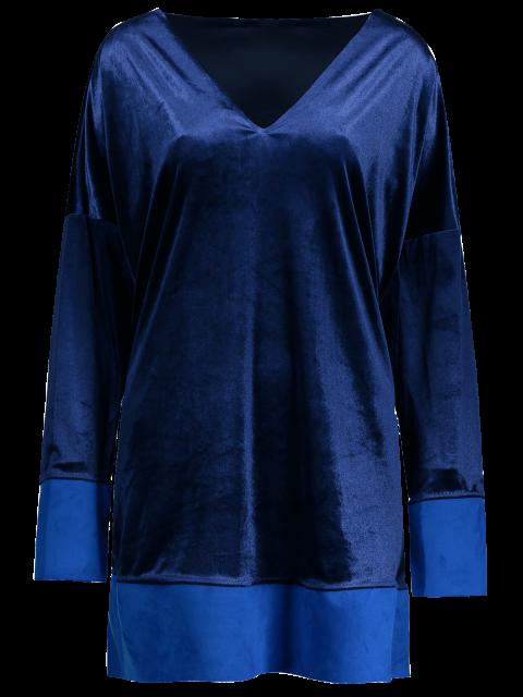 shop Contrast Hem Side Slit Velvet Dress - SAPPHIRE BLUE M Mobile