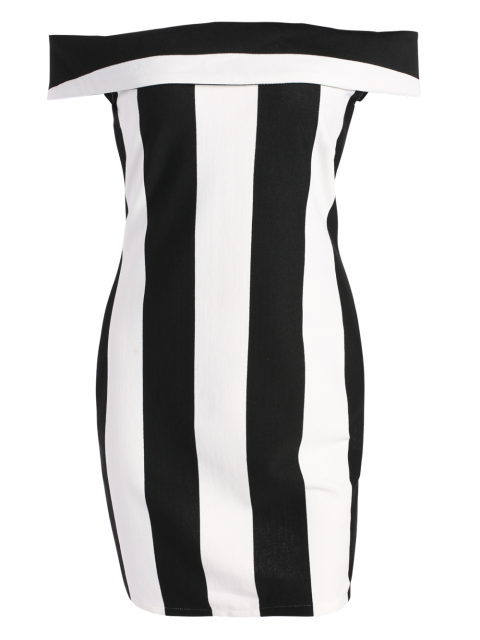 fancy Fitted Striped Sleeveless Off The Shoulder Dress - WHITE AND BLACK L Mobile