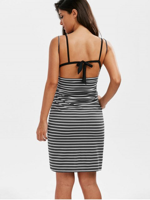 buy Striped Open Back Cover-ups Dress - GRAY M Mobile