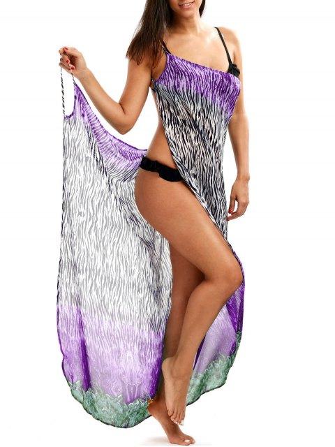 buy Zebra Print Open Back Wrap Cover-Ups Dress - PURPLE L Mobile