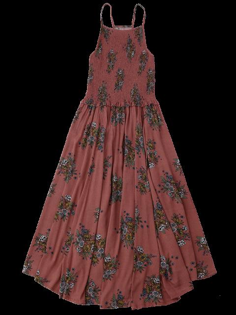 hot Floral A-Line Smocked Midi Dress - FLORAL M Mobile