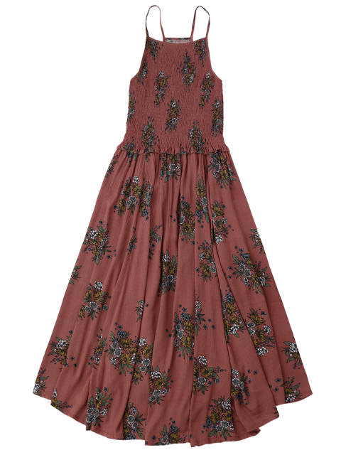 outfit Floral A-Line Smocked Midi Dress - FLORAL S Mobile