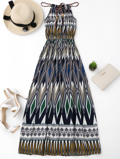 Maxi Vestido De Playa Con Estampado Geométrico