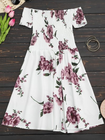 Floral Print Off The Shoulder Sun Dress - White Xl