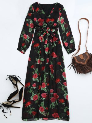 Belted Floral Surplice Maxi Dress - Floral S