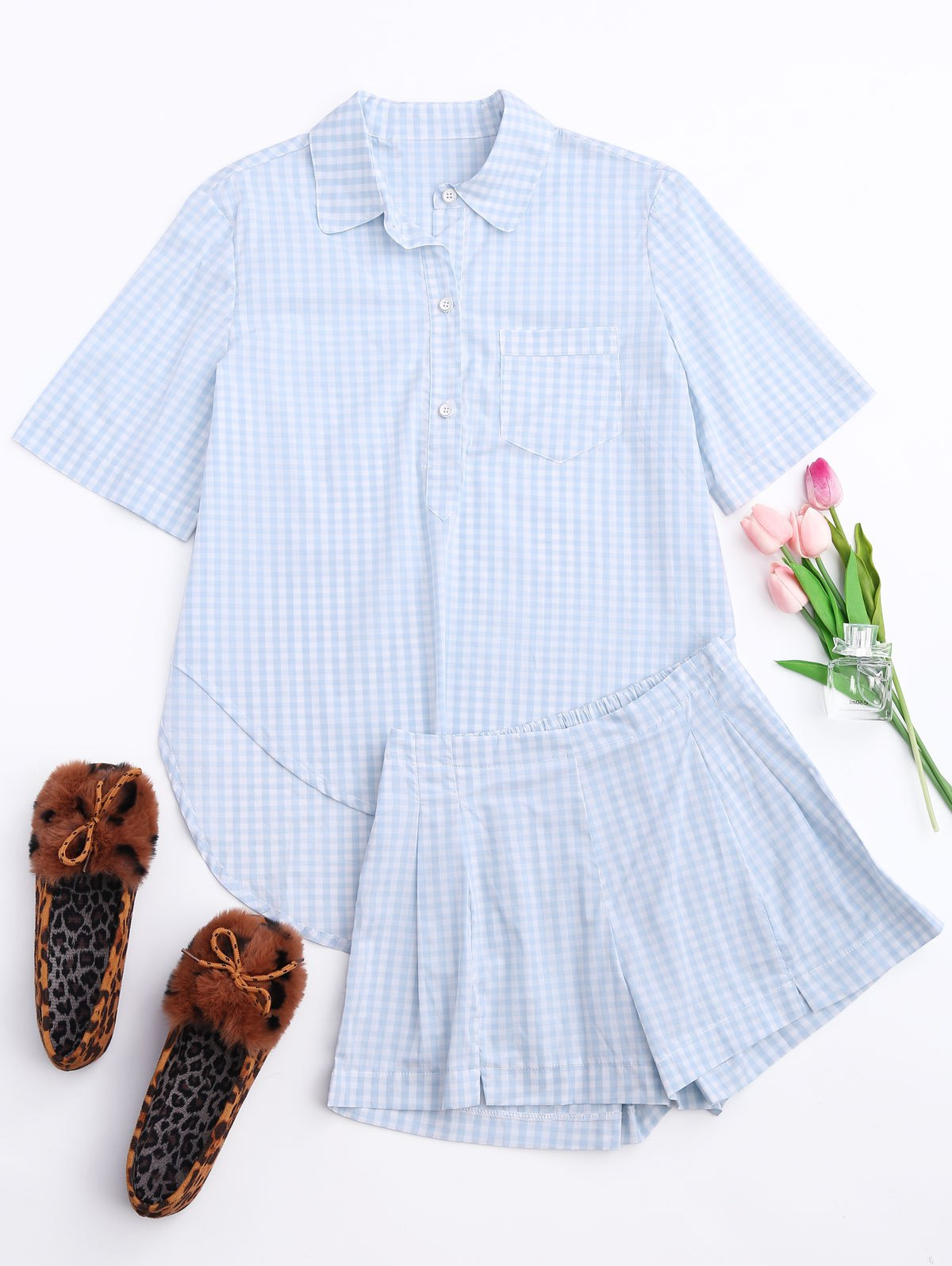 High Low Half Button Checked Shirt with Short 214480801
