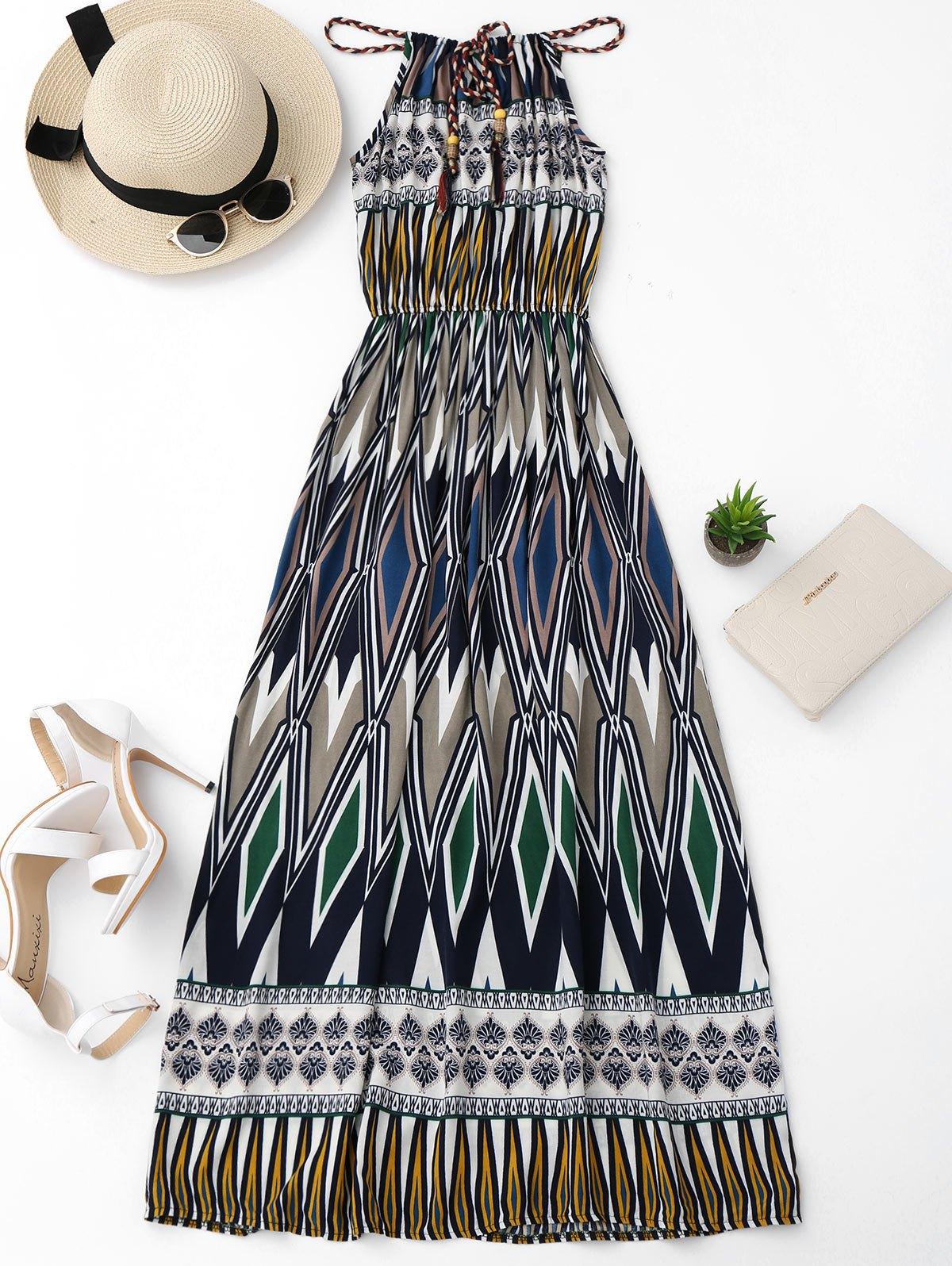 Beach Geometric Print Maxi Dress, Colormix