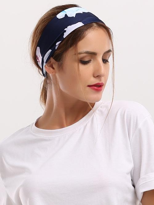 Showy Floral Printed Elastic Wide Headband
