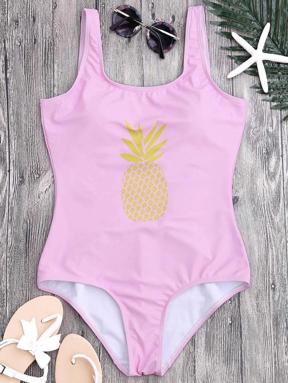 U Neck Backless Pineapple Print Swimsuit, Pink
