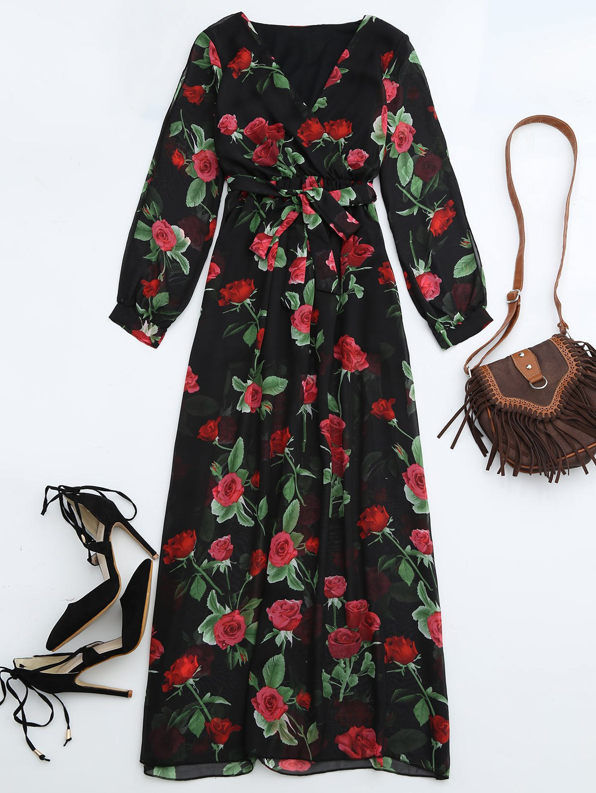 Belted Floral Surplice Maxi Dress от Zaful.com INT