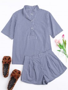 Half Button Checked Shirt with Short Loungewear