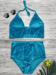 Top Y Parte Inferior De Bikini De Lana De Gran Cintura - Lago Azul S