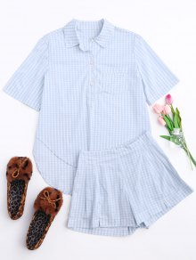 High Low Half Button Checked Shirt With Short - Plaid L