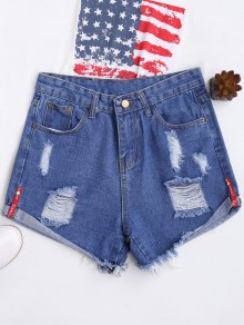High Waisted Curled Hem Ripped Denim Shorts - Blue S